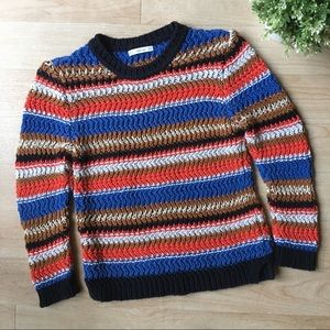 ZARA Striped Knit Multicolor Cozy Sweater Small