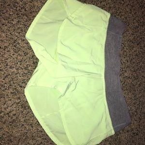 Neon Yellow Lululemon shorts