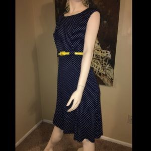 Connected Apparel Sleeveless Dress with Belt