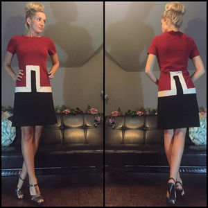 Red White Black Euro Inspired Mini Dress