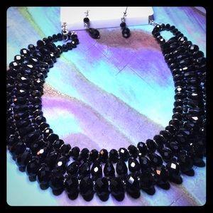ER35 Faceted Black Austrian Crystals Set
