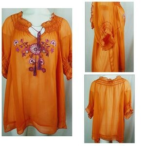 LANE BRYANT Size 26/28 Peasant Blouse Orange Sheer