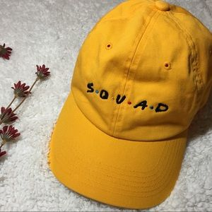 "Embroidered ""SQUAD"" Mustard Cap"
