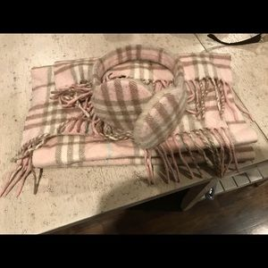 Authentic Burberry Pink Plaid scarf and Earmuffs