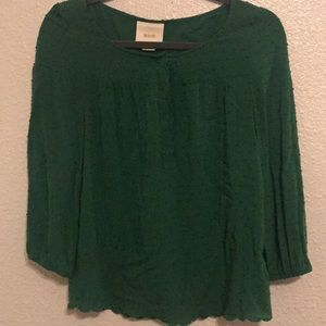 Anthropology Maeve green scalloped top