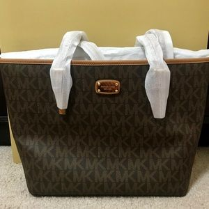 Brand NWT MK Brown Small Carry All Tote + Gift Box