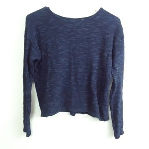 FOREVER 21 NAVY BUTTON BACK CROP TOP