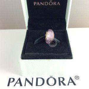 New Pandora Rose Pink Shimmering Murano Charm