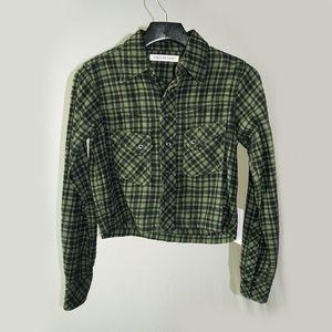 Cozy cropped plaid shirt