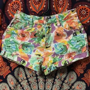Minkpink colorful floral print high waisted shorts