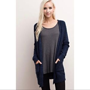 Sweaters - 'Ember' Navy Blue Open Cardigan