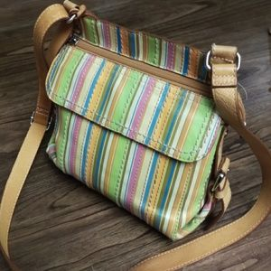 Fossil Colorful Stripped Leather Crossbody Bag