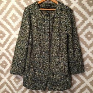 Talbots Navy & Tan Boucle Tweed Blazer Jacket