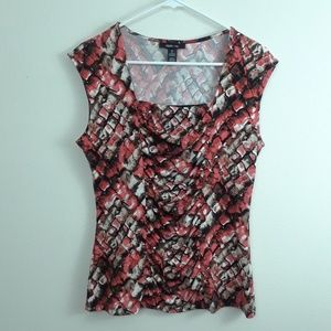 STYLE & CO. RUCHED REPTILE PRINT OFFICE TOP
