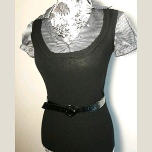 Max Rave Belted Blouse Black/White Size XS