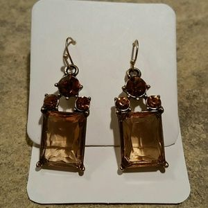 Jewelry - NEW Topaz & Fire Elegant Crystal Cocktail Earrings
