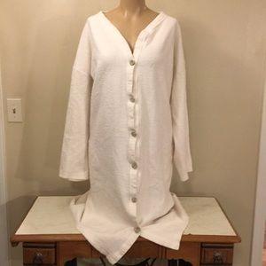 Vintage Boho White Fuzzy Oversized Long Cardigan