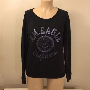 American Eagle Black Relaxed Fit Sweatshirt Top
