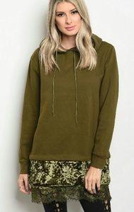 Coming soon velvet lace sweatshirt