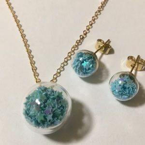 BLUE Starr confetti globe necklace and earrings