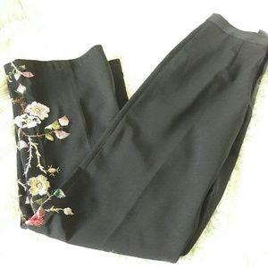 Pants - B.Moss black embroidered pants