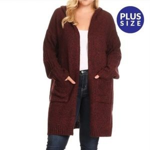 TWO TONE KNIT HOODED CARDIGAN