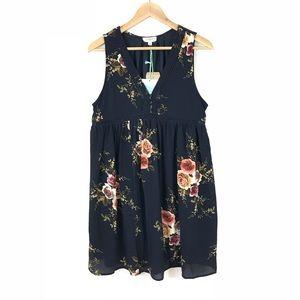 UMGEE Floral Print Babydoll V-Neck Dress NWT