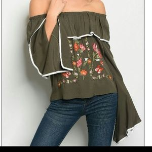 Coming soon boho chic olive green blouse