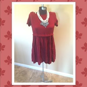 Super cute wine red baby doll tunic top sz sm