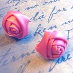Dark Pink Satin Rosebud Fabric Earrings