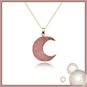Pink Druzy Crescent Moon Pendant Necklace