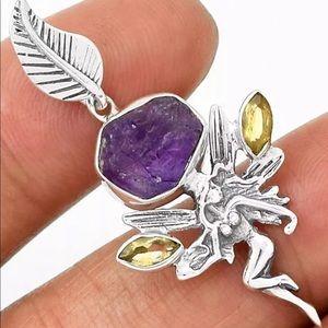 Silver Fairy Rough Amethyst Citrine Pendant