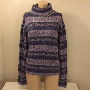 Purple Strip Knit Boho Gypsy Turtle Neck Sweater