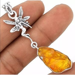 Fairy Jewelry Rough Amber 925 Silver Pendant