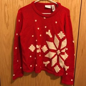 Christmas Snowflake Red White Crew Sweater #69