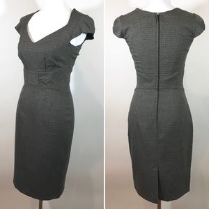 H&M Dress Houndstooth Gray Fitted Cap Sleeve 6