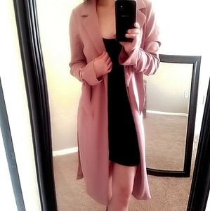 Jackets & Blazers - PInk Collar Tie Sleeve Duster jacket Coat