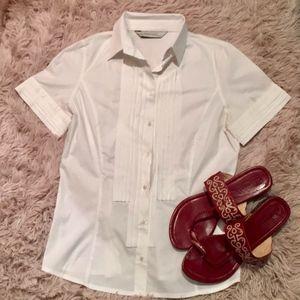 New! Zara - Cute White Short Sleeve Button Up