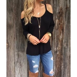 Sweaters - 'Quinn' Black Cold Shoulder Sweater