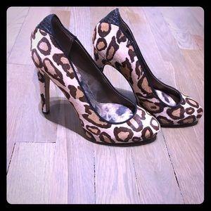 Sam Edelman leopard fur pumps