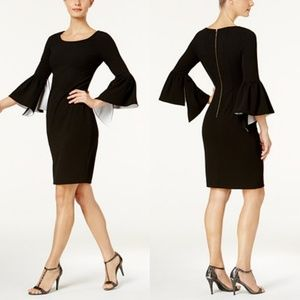 CALVIN KLEIN CONTRAST BELL SLEEVES DRESS