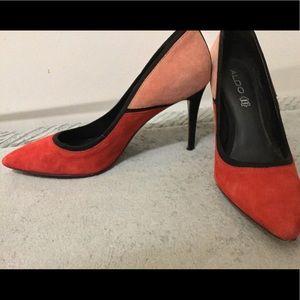 Aldo red & pink spike heels