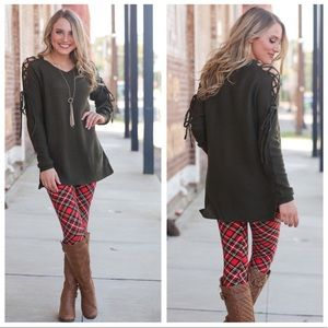 Olive lace-up sleeve sweater