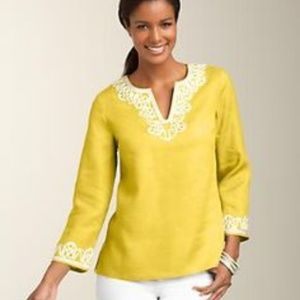 Talbots yellow linen top size xl