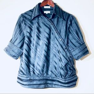 Faconsble Blue stripes short sleeves shirt