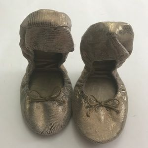 Gaps fold up ballets flat shoes 10 Metallic brown