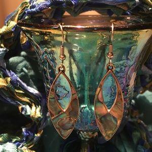 Abalone tear drops silver tone earrings