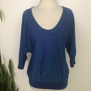 Express Knit sweater top Metallic blue dolman slee