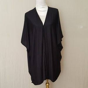 Black Jersey Knit Kimono Cardigan Cover up