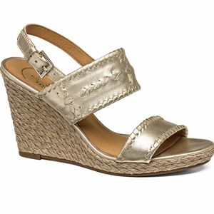 Jack Rogers Platinum Gold Wedge Sandal